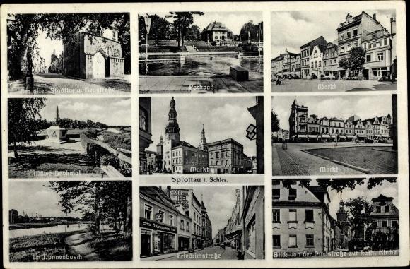 Ak Szprotawa Sprottau Schlesien, Markt, Parkbad, Friedrichstraße, Domstraße, Nonnenbusch, Kirche