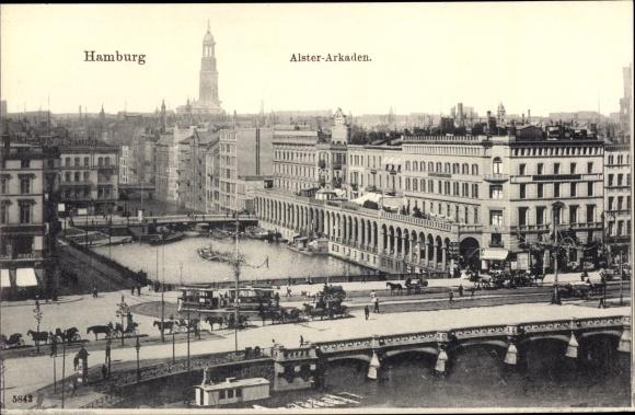 Ak Hamburg Altstadt, Alsterarkaden, Brücke, Straßenbahn, Pferdekutschen, Boote, St. Michaeliskirche