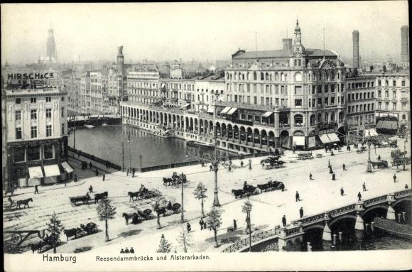 Ak Hamburg Altstadt, Reesendammbrücke u. Alsterarkaden, G. Hirsch & Compagnie, Pferdekutschen
