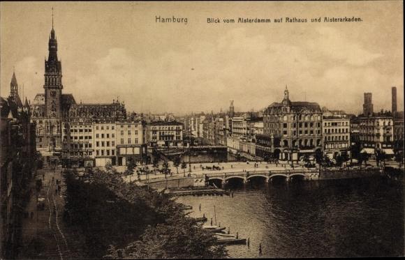 Ak Hamburg Altstadt, Blick vom Alsterdamm auf Rathaus u. Alsterarkaden, Brücke, G. Rudolf Mosse