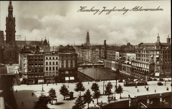 Ak Hamburg Altstadt, Jungfernstieg, Alsterarkaden, Rathaus, G. Rudolf Mosse, Straßenbahn