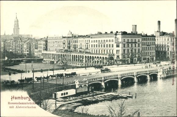 Ak Hamburg Altstadt, Reesendammbrücke m. Alsterarkaden, Anlegestelle, Boote, Pferdekutschen