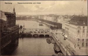 Ak Hamburg Altstadt, Reesendammbrücke und Alster, Arkaden, Boote, Straßenbahn