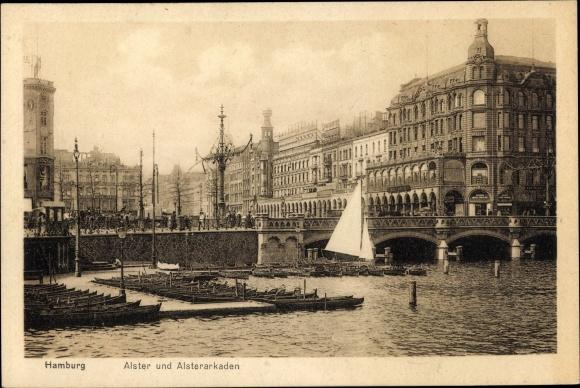 Ak Hamburg Altstadt, Reesendammbrücke, Alster, Alsterarkaden, Anlegestelle, Boote