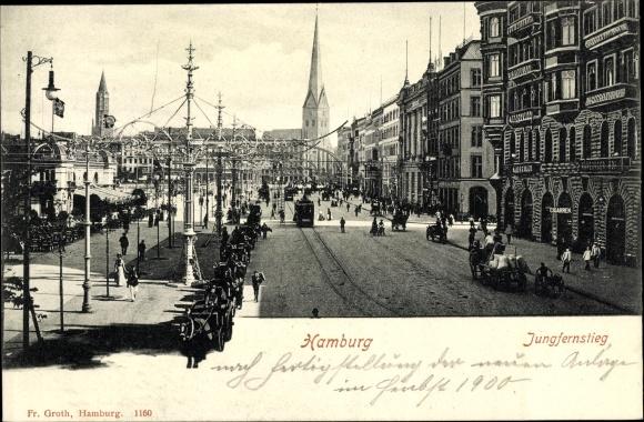 Ak Hamburg Altstadt, Jungfernstieg, Hamburger Hof, Pferdekutschen, Straßenbahn