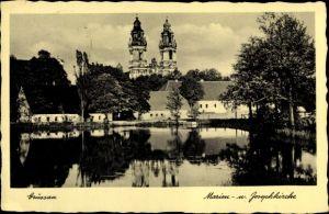 Ak Krzeszów Kamienna Góra Grüssau Schlesien, Marien u. Josefkirche, Uferpartie