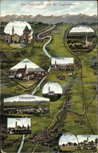 Landkarten Ak Felle, Eugen, Tittmoning in Oberbayern, Oberndorf, Laufen, Fridolfing, Kay, Kirchheim