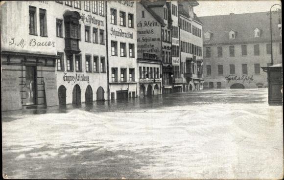 Ak Nürnberg in Mittelfranken Bayern, Obstmarkt bei der Hochwasserkatastrophe, 5. Februar 1909