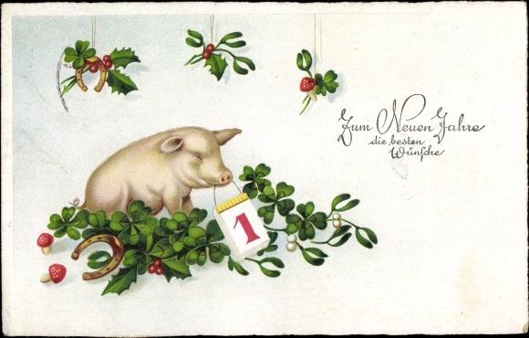 Ak Glückwunsch Neujahr, Schwein, Kleeblätter, Kalender, Fliegenpilze, Hufeisen, Amag 3274