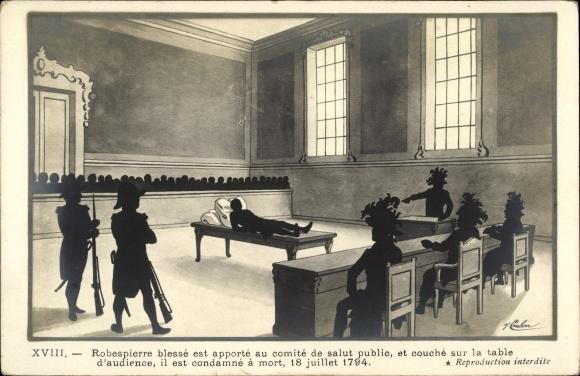 Künstler Ak Robespierre blessé est apporté au comité de salut public, Französische Revolution, 1794