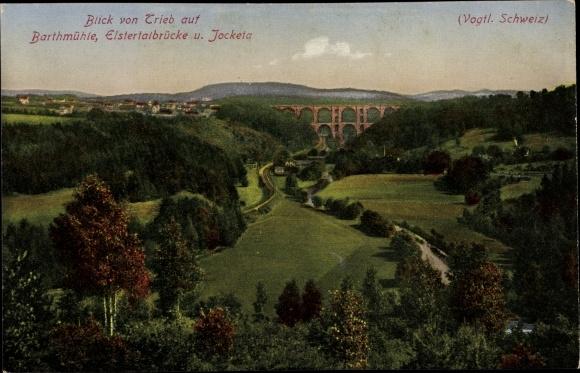 Ak Jocketa Pöhl Vogtland, Barthmühle, Elstertalbrücke, Blick von Trieb