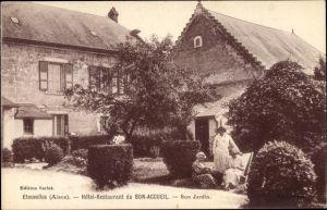 Ak Étouvelles Aisne, Hôtel Restaurant du Bon Accueil, Jardin