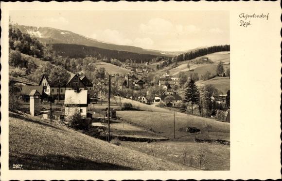 Ak Jagniątków Agnetendorf Hirschberg Riesengebirge Schlesien, Totale, Schneegrubenbaude, Reifträger