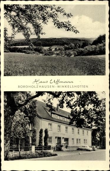 Ak Winkelshütten Borgholzhausen in Westfalen, Haus Uffmann, Inh. Adolf Hunger, Panorama
