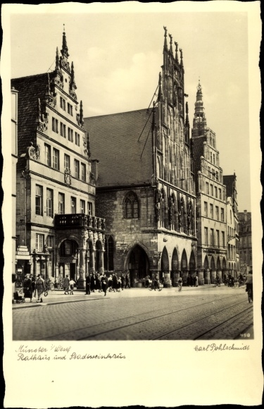 Ak Münster in Westfalen, Rathaus, Stadtweinhaus, Strassenansicht