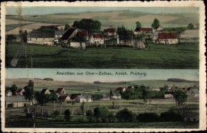 Ak Zethau Mulda in Mittelsachsen, Panoramaansichten vom Ort
