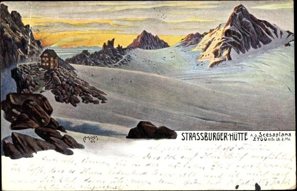 Künstler Ak Moos, C., Brand in Vorarlberg, Straßburger Hütte, Seesaplana