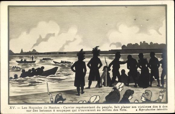 Künstler Ak Nantes Loire Atlantique, Noyades de Nantes, Französische Revolution