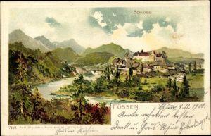 Litho Füssen im Ostallgäu, Totalansicht mit Schloss