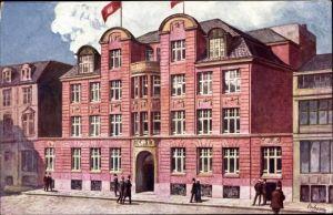 Künstler Ak Hamburg Mitte Altstadt, Geschäftshaus des kaufmännischen Vereins, Außenansicht