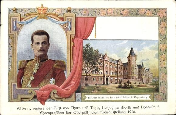 Ak Regensburg an der Donau Oberpfalz, Fürst Albert von Thurn und Taxis,Oberpf. Kreisausstellung 1910