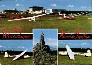 Ak Gersfeld in der Rhön Hessen, Wasserkuppe, Segelflugzeuge, Fliegerdenkmal