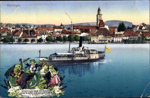 Ak Überlingen am Bodensee Baden Württemberg, Teilansicht vom Ort, Dampfer, Frösche musizieren