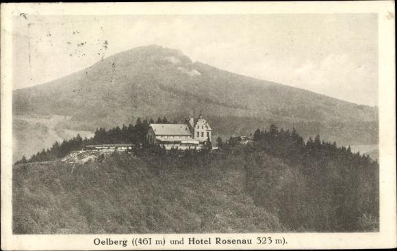 Ak Königswinter am Rhein, Ölberg, Hotel Rosenau, Außenansicht