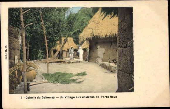 Ak Porto Novo Dahomey Benin, Un Village, Dorfansicht