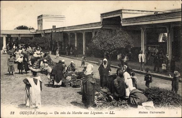 Ak Oudjda Oujda Marokko, Un coin du Marche aux Légumes, Levy & Fils 32