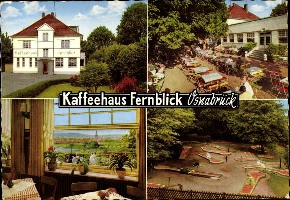 Ak Osnabrück in Niedersachsen, Caféhaus Fernblick, Bes. L. Welp Fuhrmann, Außenansicht, Minigolf