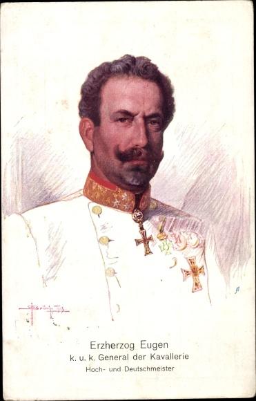 Künstler Ak Erzherzog Eugen, Kuk General der Kavallerie, Hoch- und Deutschmeister, Portrait