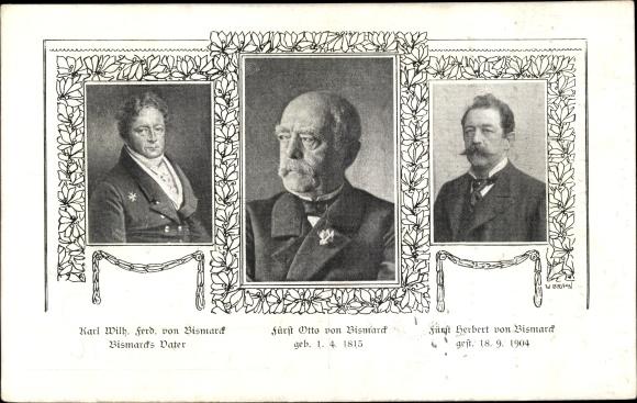 Ak Otto von Bismarck, Herzog zu Lauenburg, Bundeskanzler, Karl Wilh. Ferd. von Bismarck, Herbert