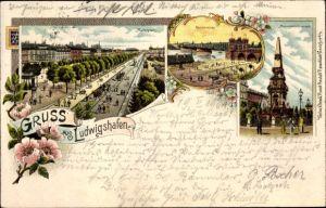 Litho Ludwigshafen am Rhein Rheinland Pfalz, Marktplatz, Rheinbrücke, Monumentalbrunnen