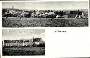 Ak Adlhausen Langquaid in Niederbayern, Schloss Brauerei Kraus, Blick vom Feld auf die Ortschaft