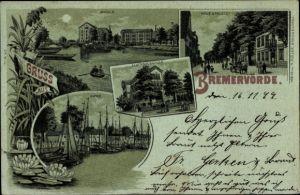Mondschein Litho Bremervörde in Niedersachsen, Mühle, Ackerbauschule, Neue Straße, Hafen