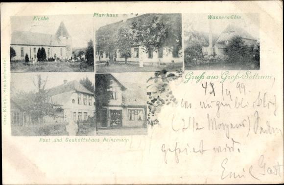 Ak Sottrum in Niedersachsen, Kirche, Pfarrhaus, Wassermühle, Post und Geschäftshaus Heinzmann
