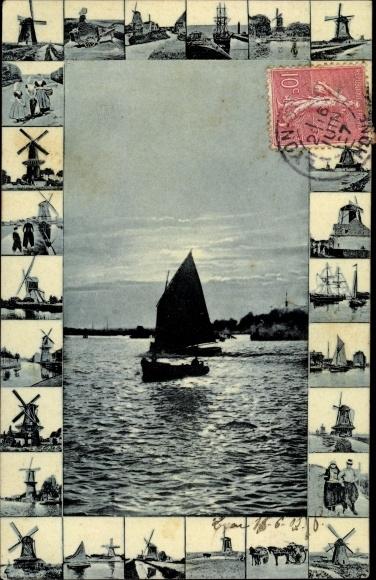 Ak Niederlande?, Windmühlen, Segelboote, Volkstrachten