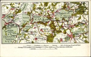 Landkarten Ak Eutin in Ostholstein, Plön, Gremsmühlen, Malente, Kellersee, Großer Plöner See