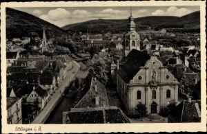 Ak Ettlingen in Baden Württemberg, St. Martin Kirche, Teilansicht der Stadt