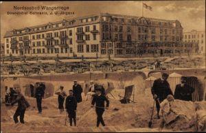 Ak Wangerooge in Friesland, Strandhotel Germania, Bes. J. U. Jürgens, Strandleben, Sandburgen