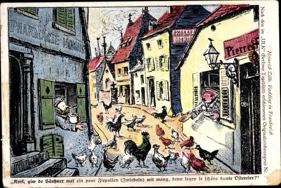Künstler Ak Zille, Heinrich, Korl, giw de Häuhner mal ein poor Ziepollen mit mang