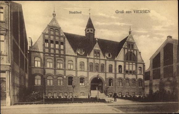 Ak Viersen in Nordrhein Westfalen, Stadtbad, Vorderansicht