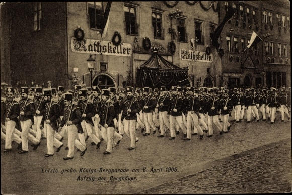 Ak Freiberg in Sachsen, Letzte große Königs Bergparade 1905, Aufzug der Berghäuer, Ratskeller