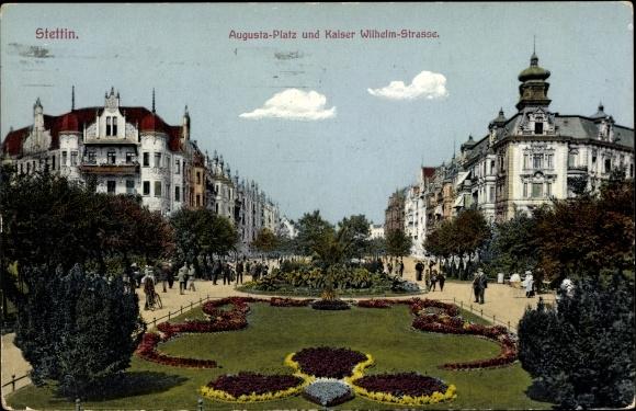 Ak Szczecin Stettin Pommern, Augusta Platz, Kaiser Wilhelm Straße