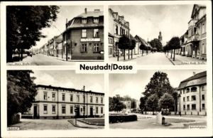 Ak Neustadt Dosse in Brandenburg, Bahnhof, Karl Marx Straße, Robert Koch Straße, Bahnhofsplatz