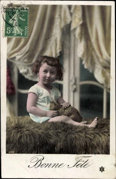 Ak Bonne Fête, Glückwunsch Geburtstag, Kind, Stofftier, Katze
