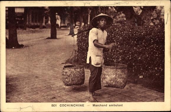 Ak Cochinchine Vietnam, Marchand ambulant