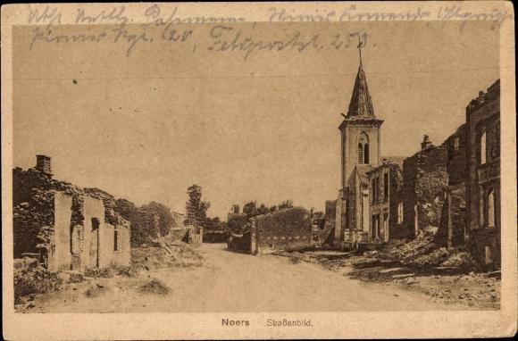 Ak Noers Longuyon Lothringen Meurthe et Moselle, Kirche, Straßenbild, Kriegszerstörungen, I. WK