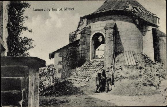 Ak Lamorville Lothringen Meuse, Kriegszerstörungen, I. WK